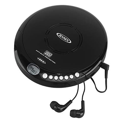 Jensen Portable CD-120BK Portable Personal CD Player Compact 120 SEC Anti-Skip CD Player – Lightweight & Shockproof Music Disc Player & FM Radio Pro-Earbuds for Kids & Adults