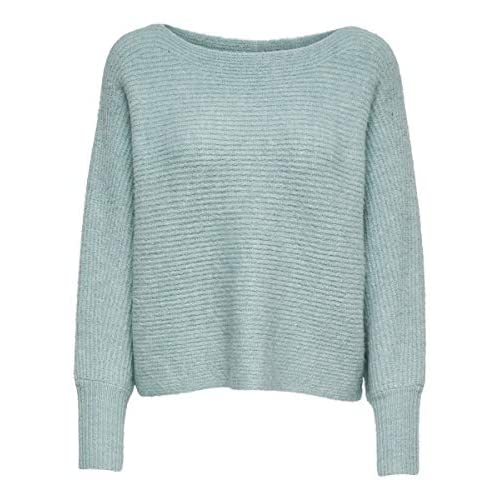 Only ONLDANIELLA L/S Pullover Knt Noos Maglione, Grigio (Ether Detail: W.Cloud Dancer melangé), S Donna