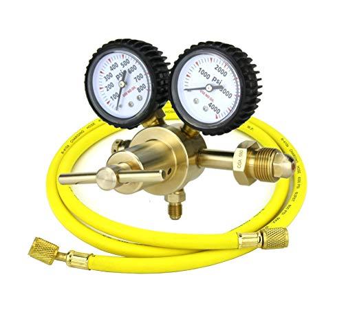 """SÜA - Nitrogen Gas Regulator 0-600 PSIG - HVAC Purging - Pressure Charge - 1/4"""" Flare Connector - With 60"""" Charging Hose."""