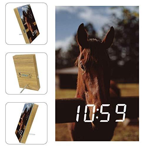 TIZORAX Alarm Klokken Roodbruin Paard LED Digitale Klokken voor Office Keuken Woonkamer Desktop met USB Opladen