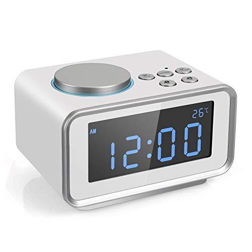 Radio sveglia digitale FM Radiosveglia con display LCD Doppia sveglia snooze temperatura e luminosità dimmerabile 2 Porta di ricarica USB (2.1A + 1.1A) (bianco)