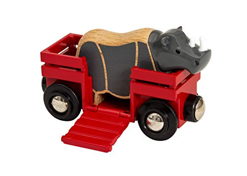 BRIO World Safari Rhino & Wagon for Kids age 3 years and up compatible with all BRIO train sets