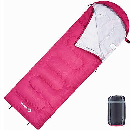KingCamp Oasis Deckenschlafsäcke mit Kopfteil für Erwachsenen 3 Jahreszeiten, Rosa, 220 × 75 cm