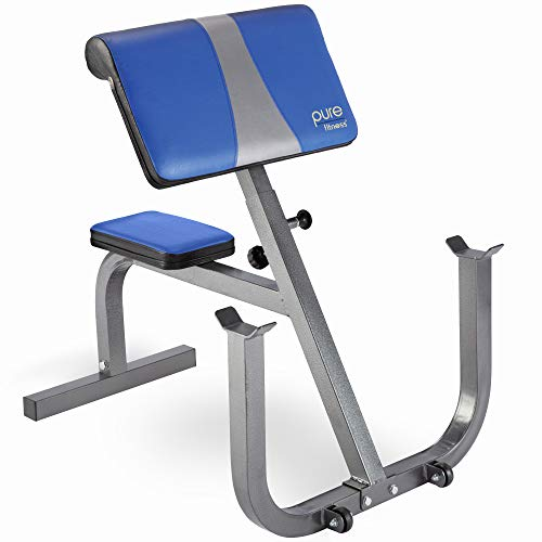 Pure Fitness Preacher Curl Bench, Adjustable and Portable, Home Gym