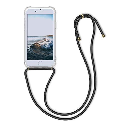 kwmobile Hülle kompatibel mit Apple iPhone 6 / 6S - mit Kordel zum Umhängen - Silikon Handy Schutzhülle Transparent Schwarz