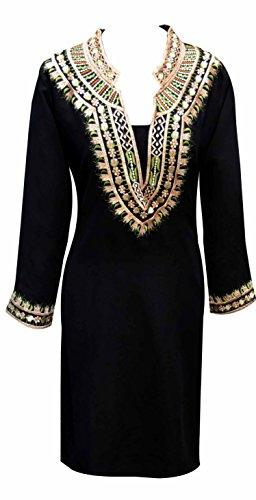 Indian nero tunica da donna con filo Kurti lavoro-Grembiule kurta caftan donna alti, motivo Londra, S, M, L, XL, XXL, XXXL 6092, Black, 42