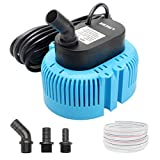 Lnicez Pool Cover Pump Above Ground - Submersible Sump Pump, Swimming Water Removal Pumps, with Drainage Hose & 25 Feet Extra Long Power Cord, 850 GPH in Ground, 3 Adapters -Blue