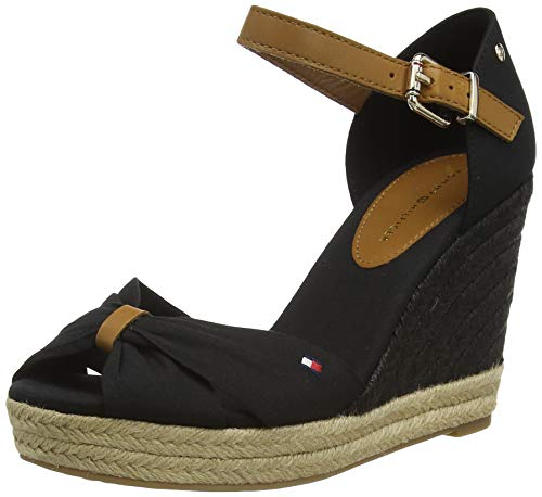 Tommy Hilfiger Damen Basic Opened Toe HIGH Wedge Peeptoe Sandalen, Schwarz (Black Bds), 40 EU