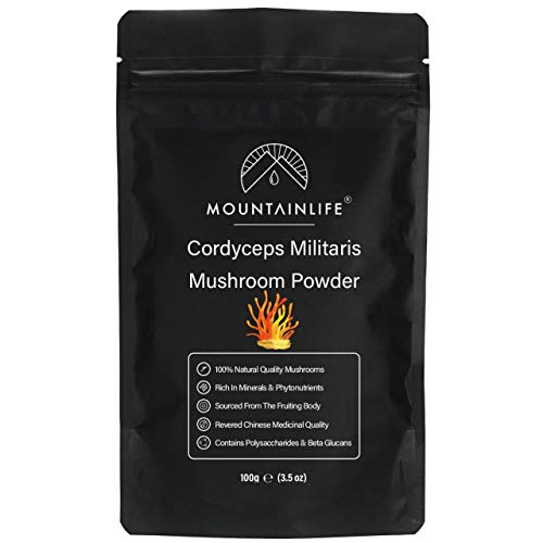 Mountainlife Cordyceps Militaris Mushroom Powder 100g, Authentic Natural Ground Cordyceps Mushroom Powder, Fruiting Body Gluten Free Grain, Chinese Di Tao Sourced, Nootropic Supplement