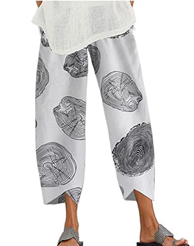Pantalones largos de lino capri vintage para mujer, con estampado floral, ajuste holgado, pierna ancha Y2k, dobladillo irregular, pantalones con bolsillos, Blanco Gris, XL