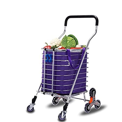 WANGYIYI Carritos de Compras Plegables Carrito de Compras portátil de aleación de Aluminio Carro de Equipaje de Comprador de Alta Capacidad para Subir escaleras