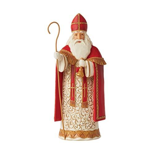 Enesco Jim Shore Heartwood Creek Christmas Around The World Belgian Santa Generous St. Niklaas Figurine, 7.2 Inch, Multicolor