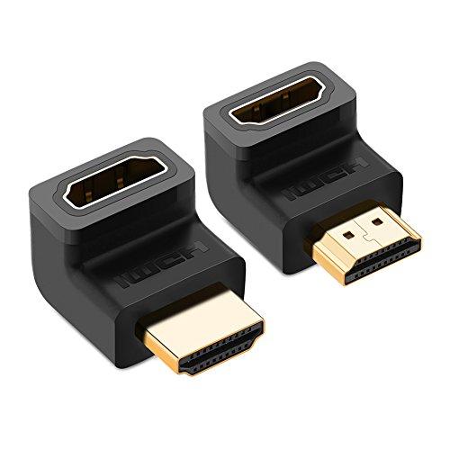 UGREEN HDMI Adapter 2 Stück 4K HDMI Winkel 270 Grad und 90 Grad HDMI Stecker auf Buchse Konverter Full HD HDMi Verbinder mit vergoldete Kontakte für TV Stick, Google Chromecast, HDTV, Receiver Schwarz