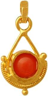 Lagu Bandhu 22k (916) Yellow Gold and Coral Pendant for Women