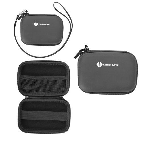 Case4Life Schwarz Hardcase Kameratasche für Canon IXUS 1000 HS, 105, 107, 110 IS, 1100 HS, 115 HS, 117 HS, 125 HS, 130, 132, 135, 140, 200 IS, 210, 220 HS, 230 HS, 240 HS, 255 HS, 300 HS, 310 HS, 500 HS, 510 HS