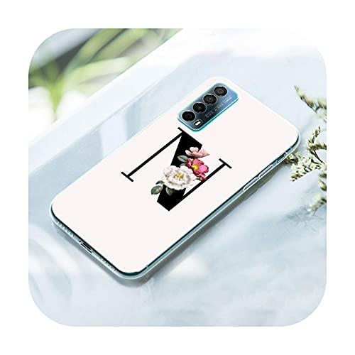 Flower Custom Letter Monogram Case para Huawei P50 Pro P40 Lite E P30 Pro P10 Plus P20 Lite P Smart Z 2021 Pro 2019 Soft Cover-004-P20 Lite