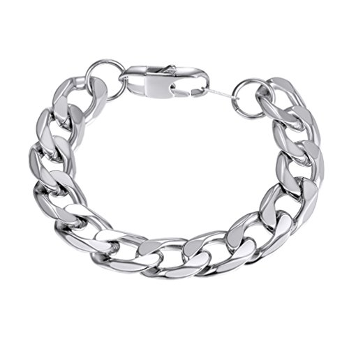 PROSTEEL 316L Stainless Steel Curb Chain Bracelet 13mm Thick Chunky Male Jewelry