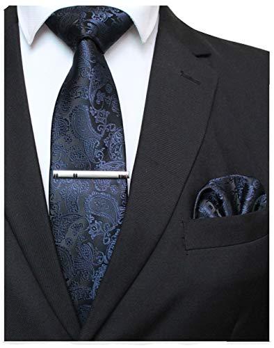 JEMYGINS Dunkelblau krawatte Paisley Seide Herren Krawatten und Einstecktuch mit krawattenklammer Sets (1)