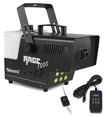 Beamz Rage 1000 LED Nebelmaschine mit Fernbedienung, 1000 Watt, 6 x 3 Watt RGB LEDs, Ausstoßvolumen: 125 m³ pro Minute, Tankvolumen: 2 L, 6 DMX-Kanäle, Aufheizzeit: 3 Min Nachheizzeit: 0,5 Minuten