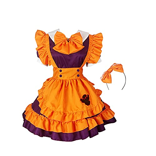 MOMAO Disfraz de sirvienta de Halloween de Talla Grande Loli Accesorios de Falda de sirvienta Vestido de Lolita con Lazo Cosplay Falda de sirvienta de Calabaza