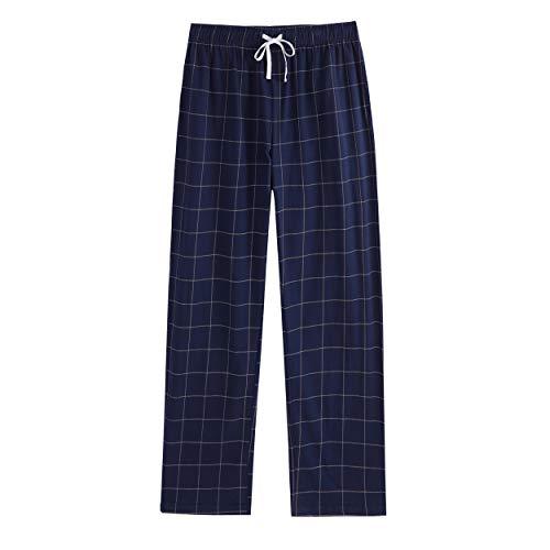 Vulcanodon Mens Cotton Pajama Pants, Lightweight Sleep Pants with Pockets Soft Lounge Pajama Pants for Men Plaid Pj Bottoms(Navy-Plaid, L)