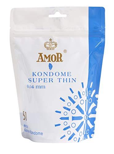 """AMOR\""""Super Thin\"""" 50er Pack Premium Kondome, hauchdünn 0,04mm Wanddicke, gefühlsecht und extra feucht"""