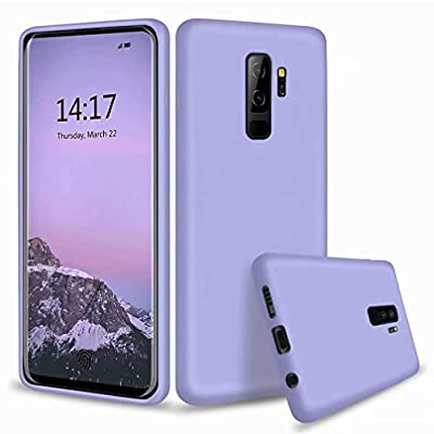 WYRHS Compatible with Samsung Galaxy S9+/S9 Plus Liquid Silicone Phone Case Gel Rubber Bumper+1*(Screen Protector) Soft Microfiber Lining Cushion Slim Shockproof Phone Shell-Purple from WYRHS