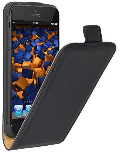 mumbi Echt Leder Flip Case kompatibel mit iPhone SE / 5 / 5S Hülle Leder Tasche Case Wallet, schwarz