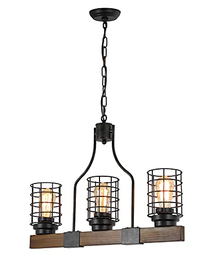 Farmhouse Chandelier for Dining Rooms, 3-Lights Wood Chandelier Kitchen Island Lighting Retro Wood Linear Pendant Light Fixtures with Cage Shade
