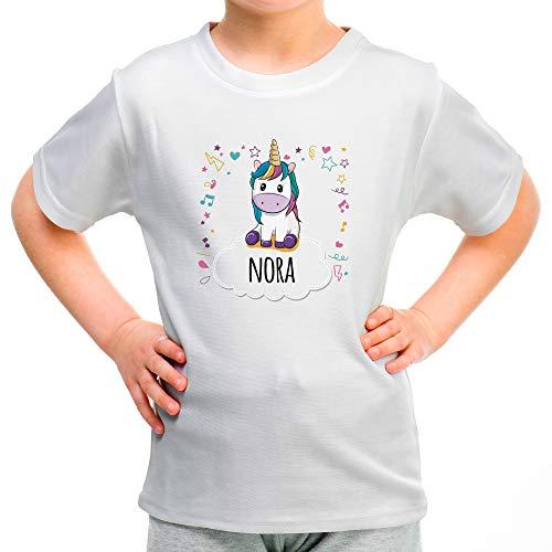 Camiseta Unicornio Infantil Personalizada con Nombre/Texto. Regalos Infantiles Personalizados. Varios Diseños y Colores a Elegir. 100% Algodón. Unicornio