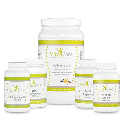 VitaCare 21-Tage-Stoffwechselkur + Daily One Proteinshake Vanille– HCG-Diät Komplettpaket mit Anleitung – Protein-Pulver, MSM Kapseln, Multivitamin Complex, Omega 3 plus & OPC Traubenkern