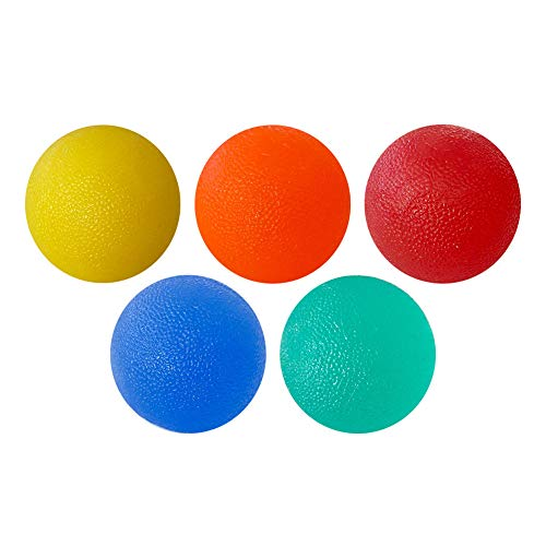 Foraco Handtrainer Ball, 5 Stück Verschiedene Widerstände Eiförmige Griffbälle, Stressball, Fingertrainer, Stressball zum Kneten, Antistressbälle, Hand Trainingsgerät, Anti Stress Ball