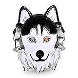 GNOCE Heterocromía De Plata Esterlina 925 Husky Dog Charm Pearl Dog Colgante Con Ojos De dos Tonos Se Adapta A Todas Las Cadenas El Mejor Regalo Para Familiares y Amigos