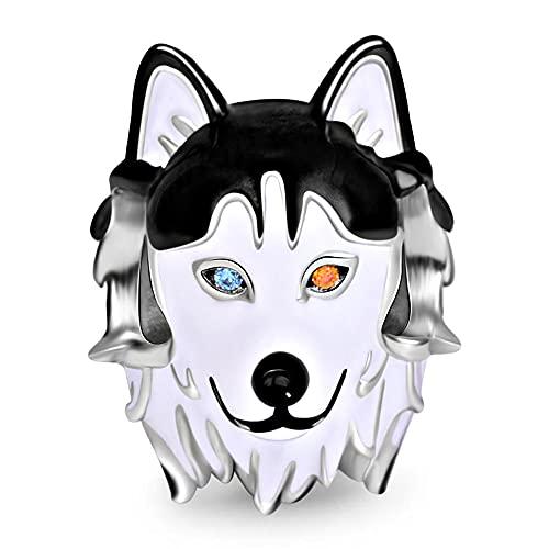 GNOCE 925 Sterling Silver Heterochromie Husky Hund Charm Perle Hund Anhänger mit Zweifarbige Augen Passt Alle Kette Bestes Geschenk für Familie und Freunde