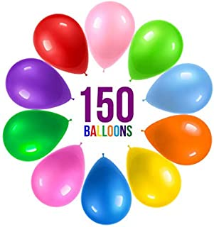 Prextex 125 Party Balloons 12 Inch 10 Assorted Rainbow Colors - Bulk Pack of Strong Latex Balloons for Party Decorations, ...