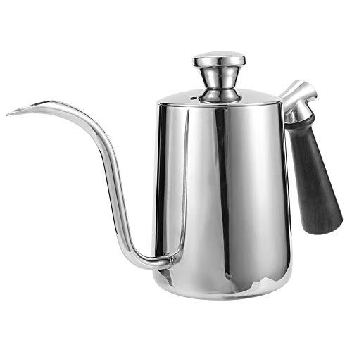 Nicoone Hervidor de café de acero inoxidable de 600 ml con mango antideslizante, boquilla de cafetera para verter tetera y cuello de ganso para uso en la cocina en el hogar
