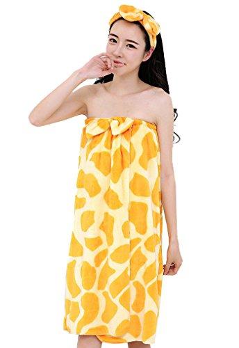 Cheerlife Multifunktionale Badetuch Handtücher Klettverschluss Bademantel Nachtwäsche mit Stirnband für Mädchen Damen One Size viele Farben Giraffe