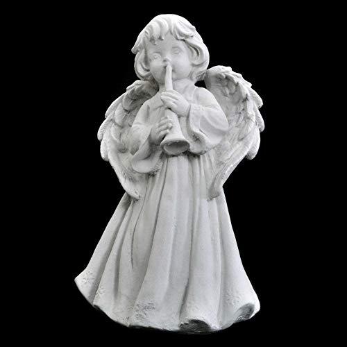 Wilai Massive kleine Steinfigur Engel mit Schalmei Skulptur Steinguss Gartendeko