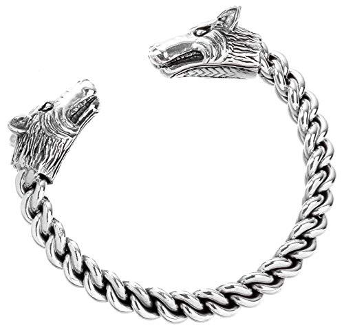 WINDALF Vikings Männer Armreif STARK Ø 6.5 cm Wikinger Armschmuck Mediaval Freundschafts-Schmuck Handarbeit aus 925 Sterlingsilber