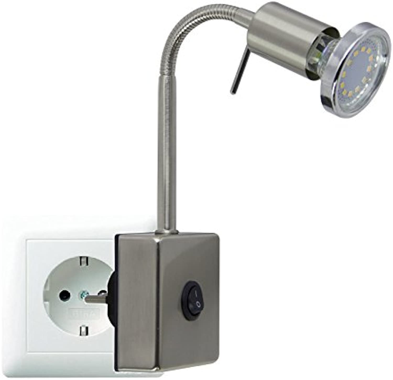 Trango TG2607 LED Steckerleuchte Nachtlicht Edelstahl-Look inkl. 1x 3000K warm-wei LED Leuchtmittel & ON OFF Schalter