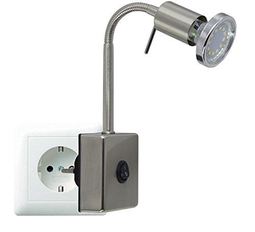 Trango LED Steckerleuchte Nachtlicht in Edelstahl-Look TG2607 incl. 1x 3000K warmweiß LED Leuchtmittel & ON/OFF Schalter Wandlampe Küchen Steckerlampe