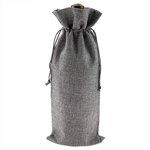 Bolsa con cordón de vino, 12 bolsas de regalo de tela de lino para botellas de vino champán funda decorativa para viajes bodas cumpleaños celebraciones y fiestas(gris)