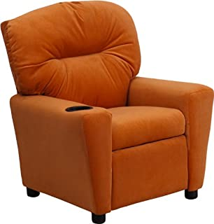 Flash Furniture Contemporary Orange Microfiber Kids Recliner with Cup Holder