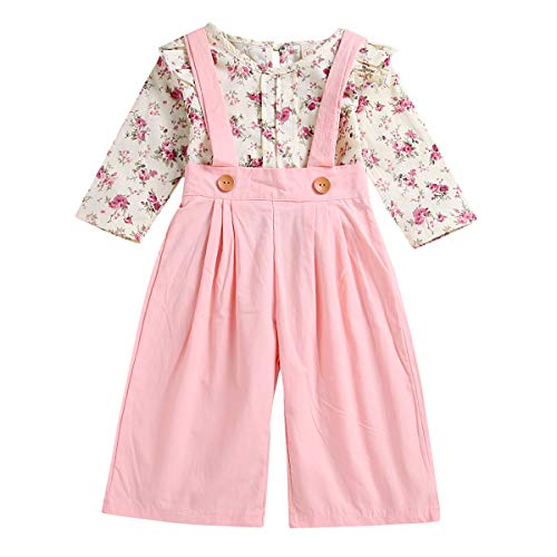 Toddler Baby Girls Floral Ruffles Shirt Top + Suspenders Overalls Pants Outfits Set (Floral+Pink, 3T-4T)