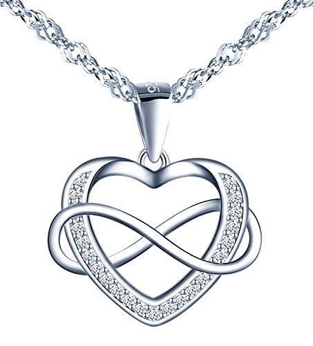 MicVivien Colgante Circonita en forma de Corazón Infinito Amor Collar Plata de ley 925 con 45 CM Cadena, Te Amo Mujer Collares Regalos para Madre Amante Ninas