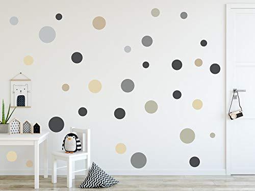 timalo® 120 Stück Wandtattoo Kinderzimmer Kreise Pastell Wandsticker – Aufkleber Punkte | 73078-SET12-120