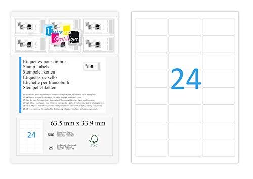 25 A4-Blatt Sticker 24 63,5 x 33,9 mm Klebeetikettenpapier für Tintenstrahl- und Laserdruckern