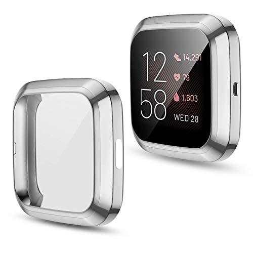 HOXULEON para Fitbit Versa 2 Revestimiento del TPU Shell Protector Allinclusive (Color : Silver)