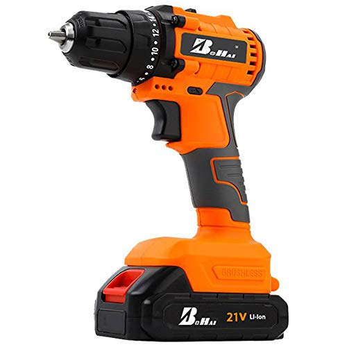 FYYTRL Cordless Drill Driver, 21V 2.0A Combi Drills with Removable Battery, Two-Speed Adjustable Shell Shatterproof Hammer Drill Set, for Screwing and Loosening Screw