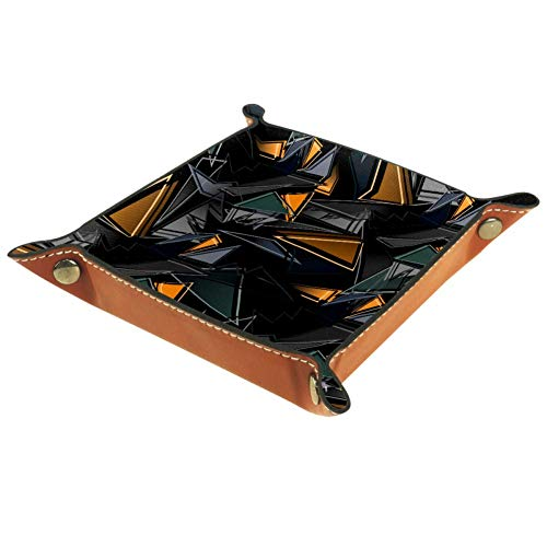 Ameli Plateau de rangement en cuir avec motif géométrique noir pour clés, téléphone, monnaie, portefeuille, montres, etc.